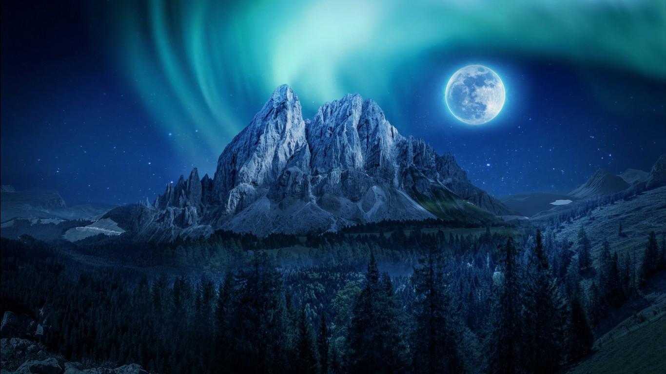 Gambar Wallpaper Cute Hd Mountain Moon Nightscape 4k Wallpapers Hd Wallpapers