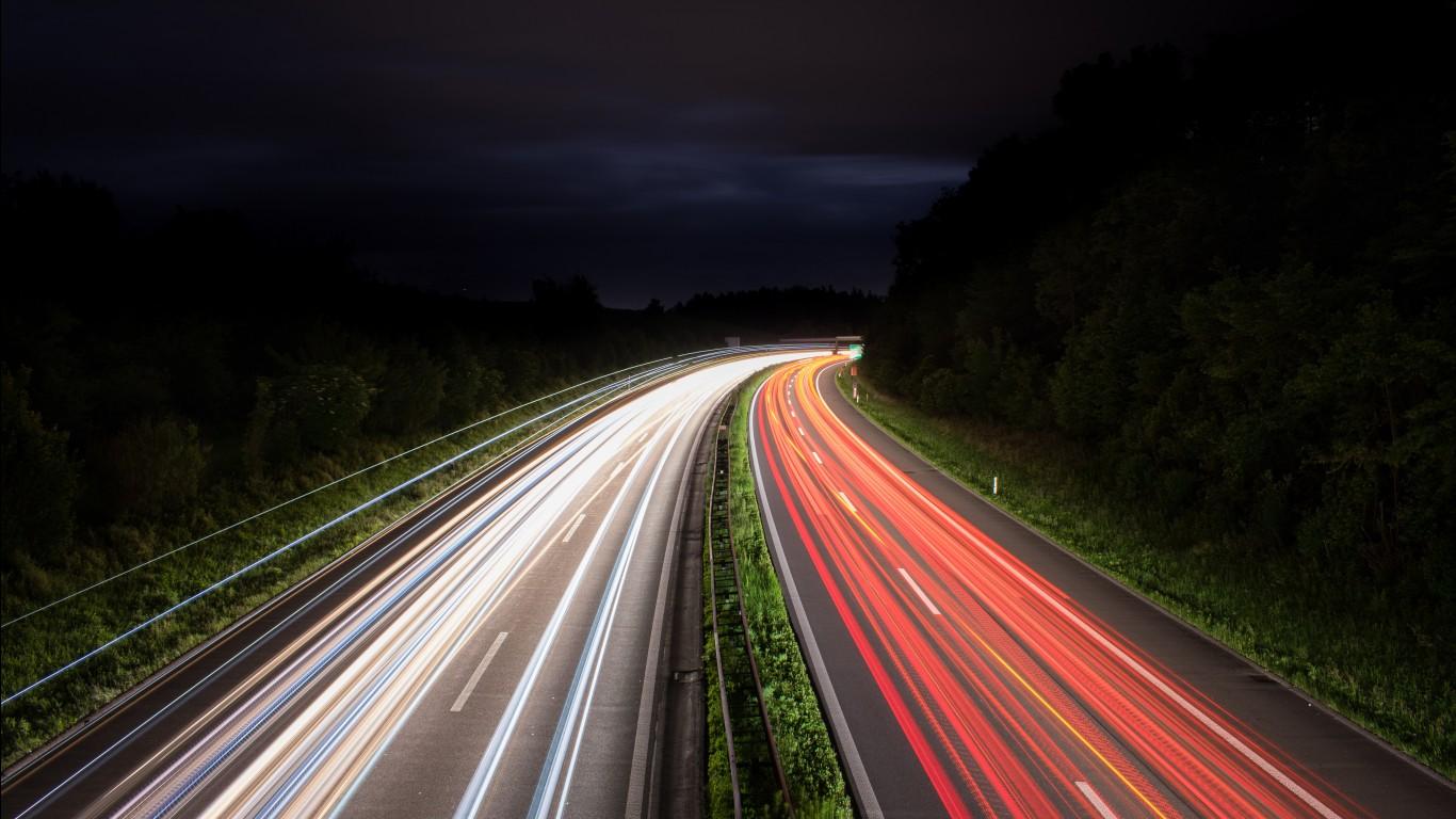 Futuristic Iphone X Wallpaper Night Traffic Lights Trails 5k Wallpapers Hd Wallpapers