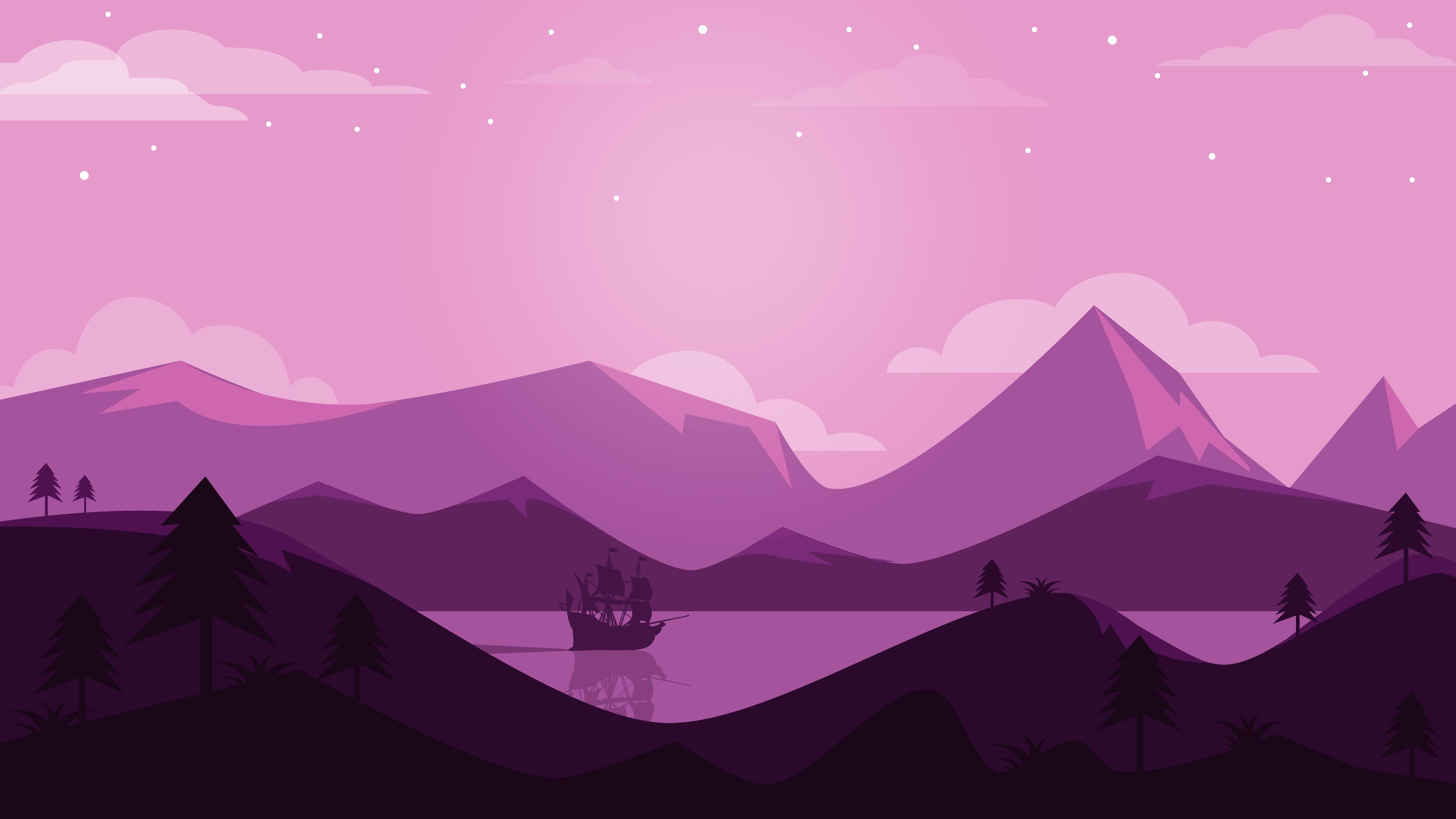 Stardew Valley Cute Wallpaper Purple Scene Landscape Minimal 4k Wallpapers Hd