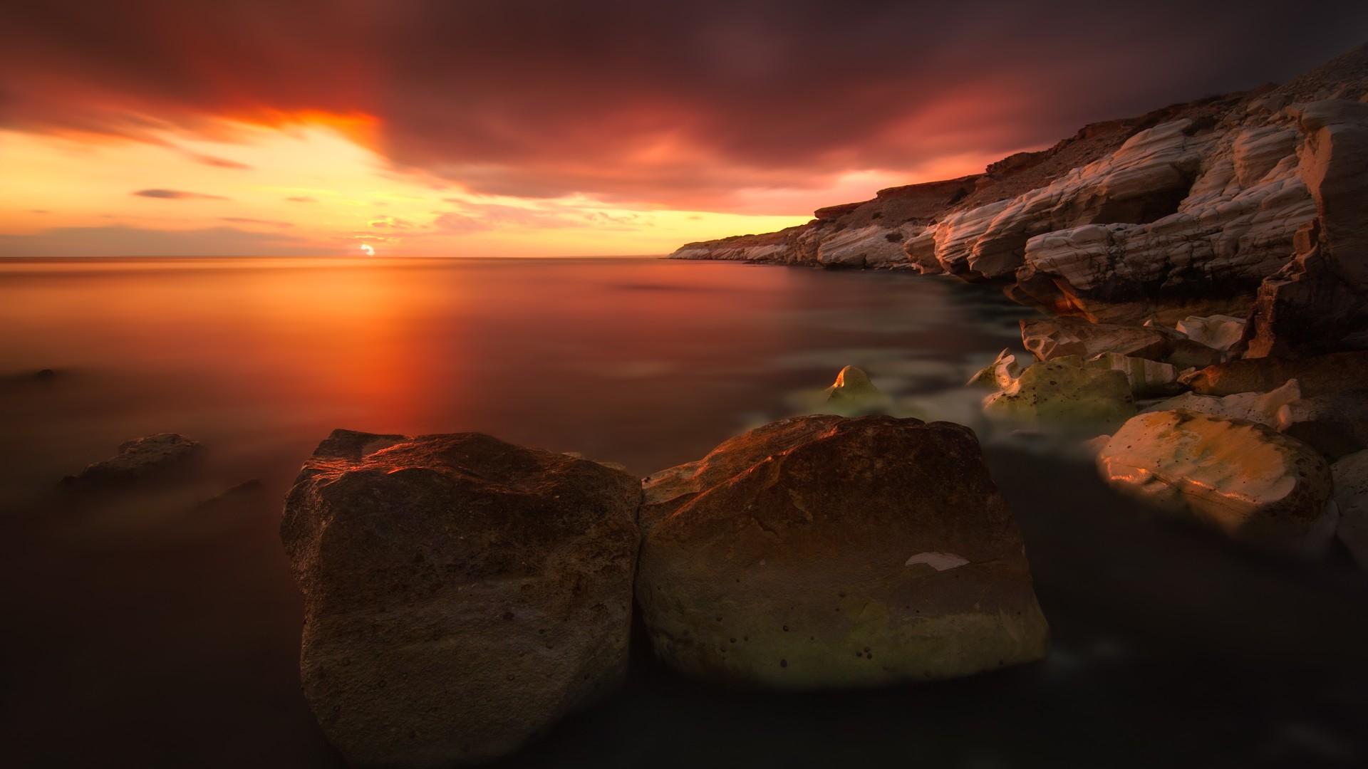 Lg V20 3d Wallpaper Rocky Coastline Sunset Wallpapers Hd Wallpapers Id 17354