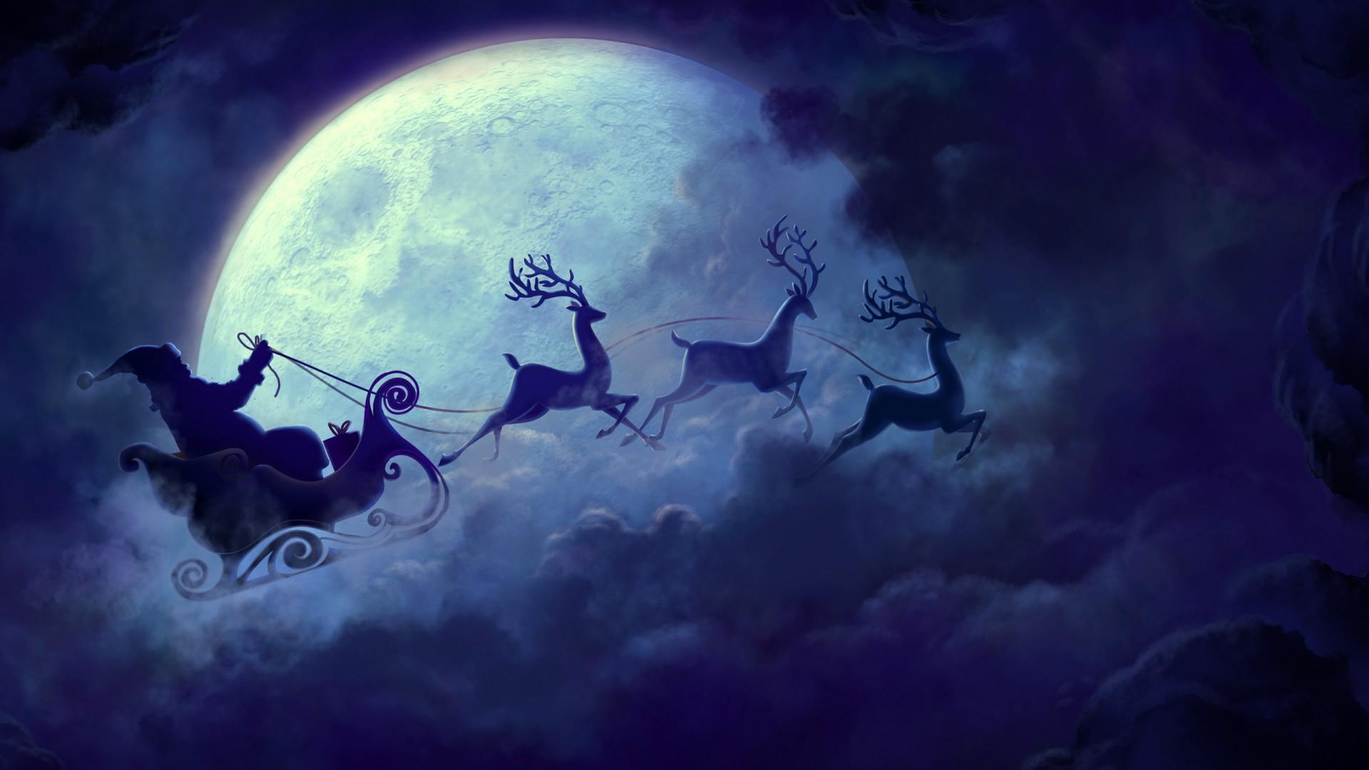Anime Merry Christmas Wallpaper Santa Claus Moon Wallpapers Hd Wallpapers
