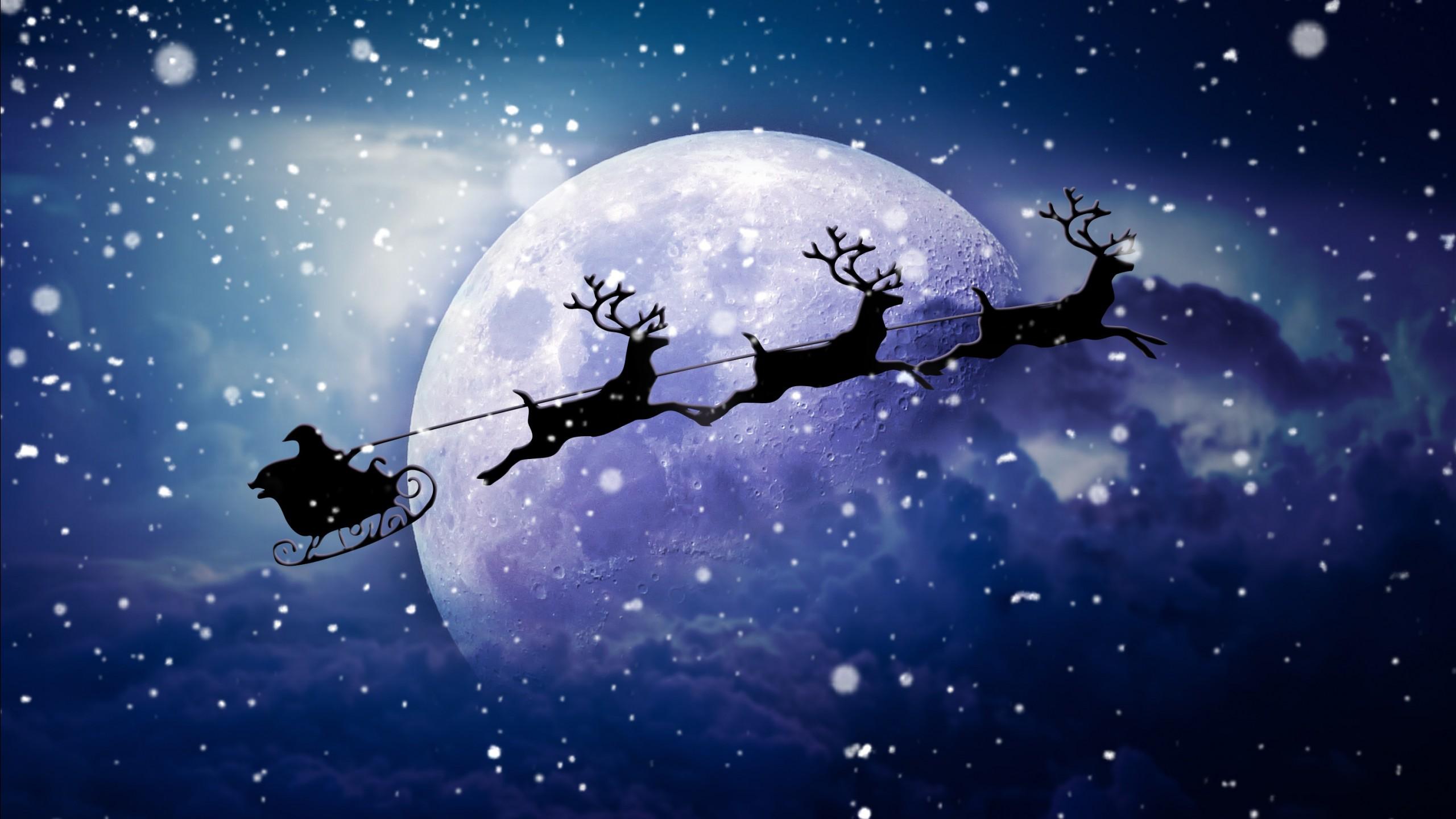 Santa Reindeer Chariot Moon Wallpapers  HD Wallpapers