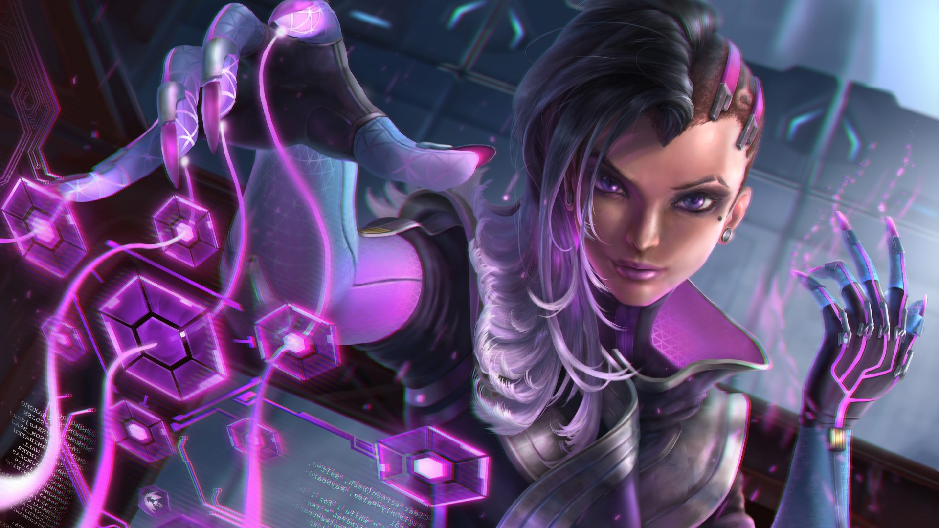Fantasy Girl Wallpaper Full Hd Sombra Overwatch Artwork 5k Wallpapers Hd Wallpapers