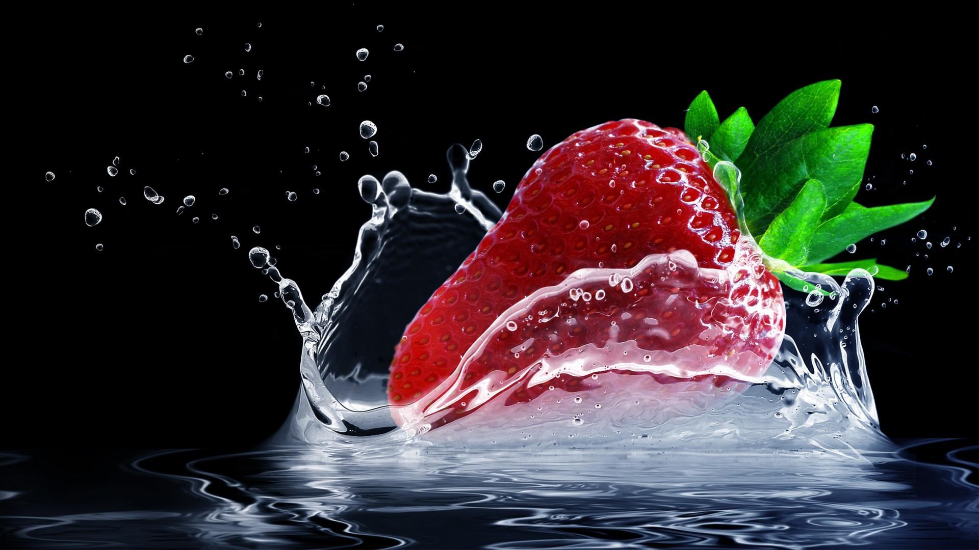 Wallpaper Strawberry Cute Strawberry Water Splash Wallpapers Hd Wallpapers Id 20779