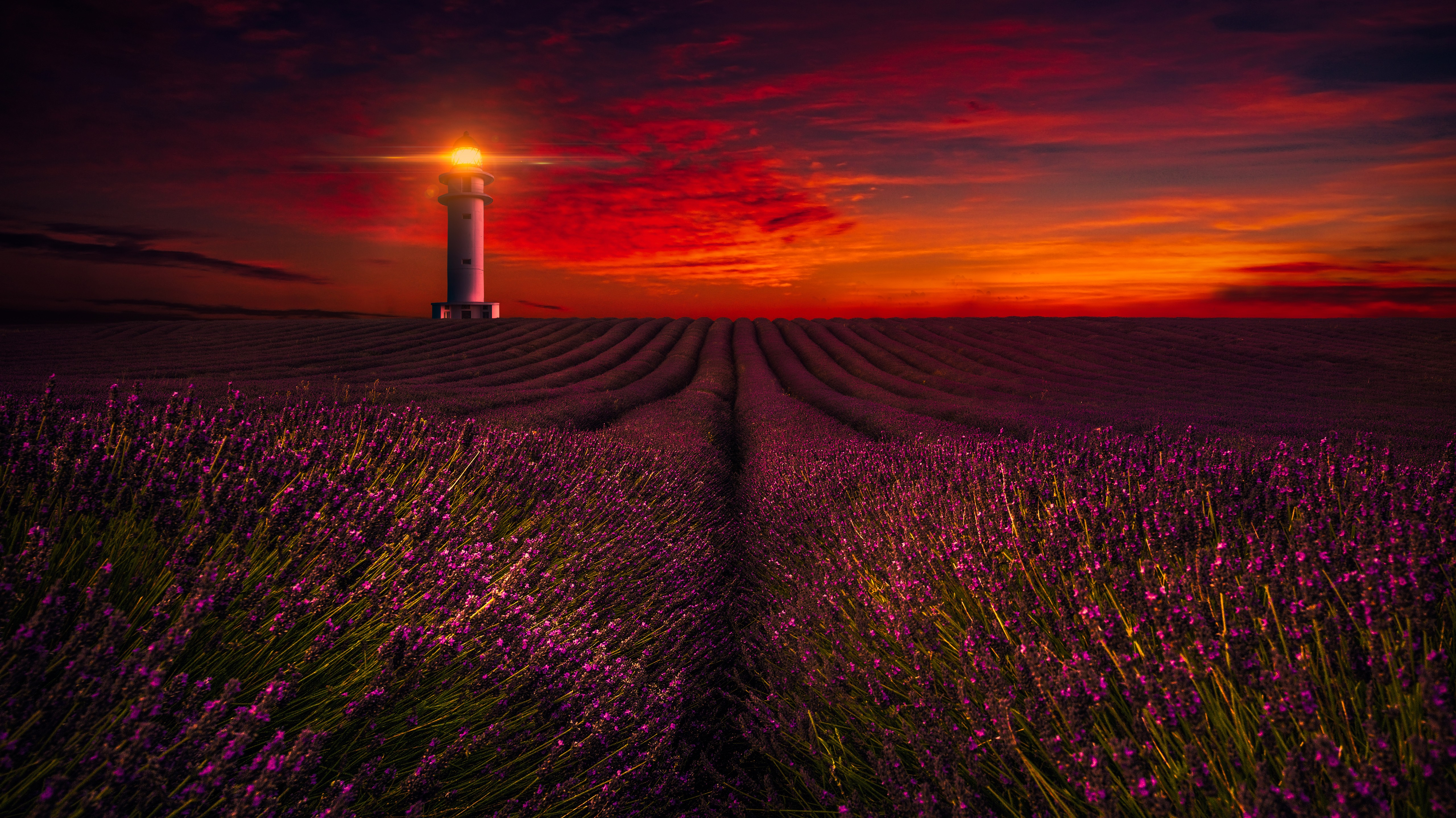 Fall Dual Monitor Wallpaper Sunset Lavender Field Lighthouse 5k Wallpapers Hd