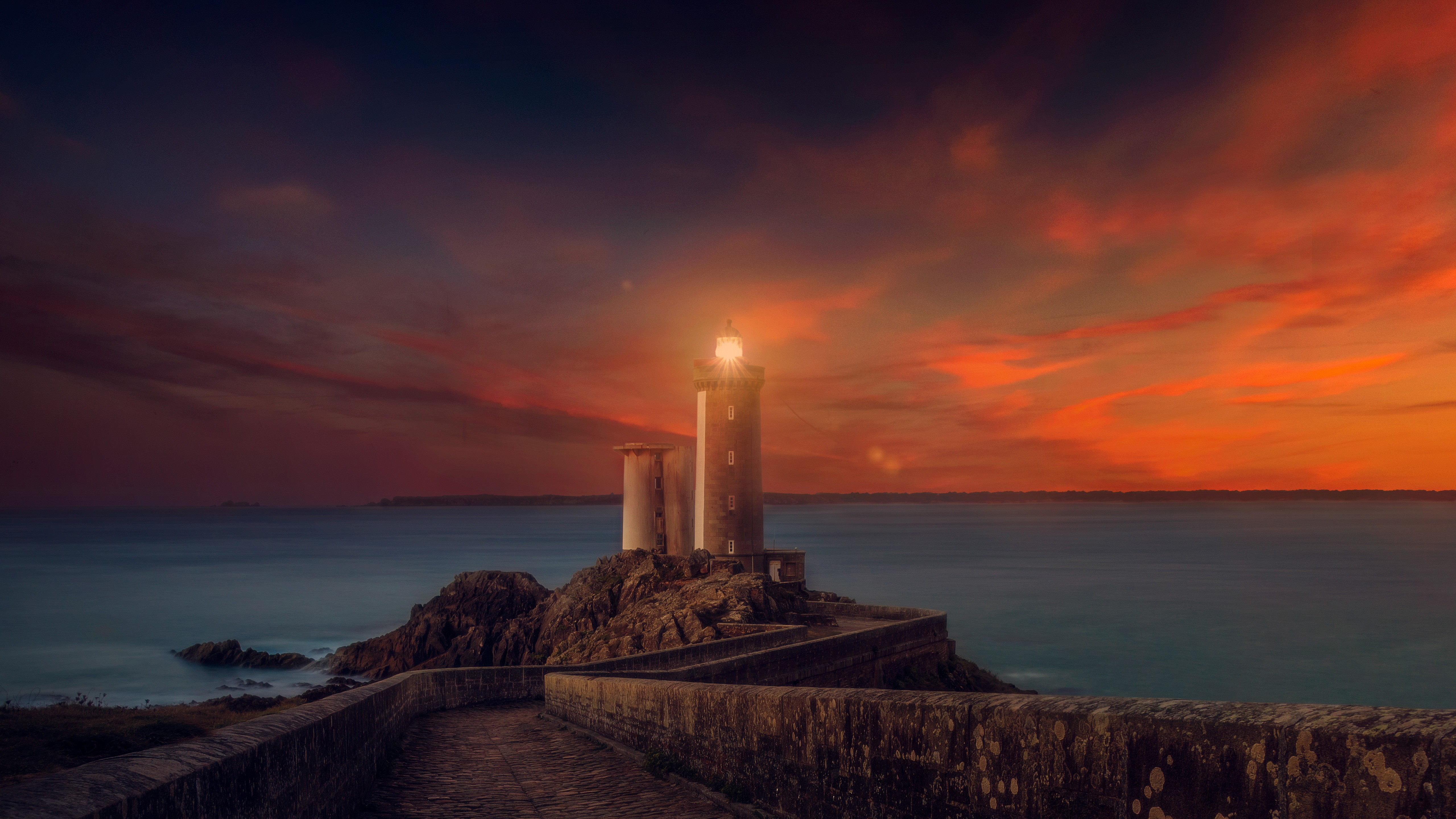 Cute Scenery Gif Wallpaper Sunset Lighthouse 4k Wallpapers Hd Wallpapers Id 18836