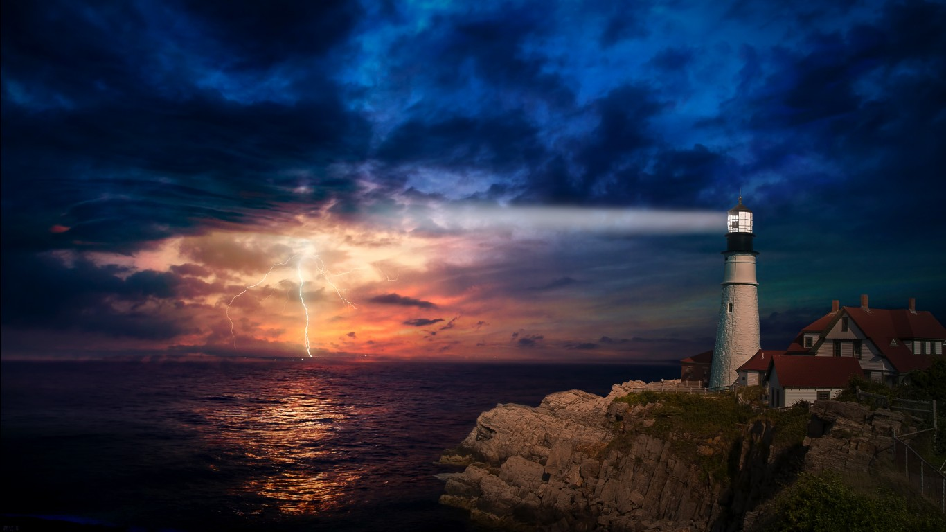 3d Home Hd Wallpaper Sunset Lighthouse 4k Wallpapers Hd Wallpapers Id 28881