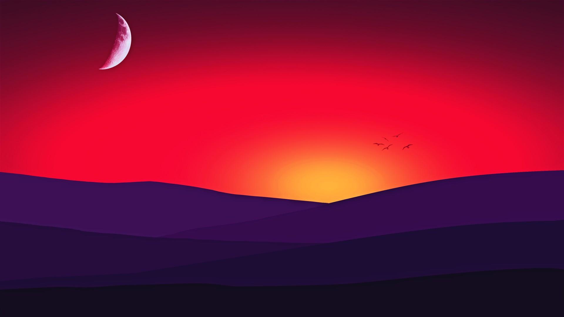 3d Hd Vaporwave Wallpaper Sunset Moon 4k Wallpapers Hd Wallpapers Id 23295