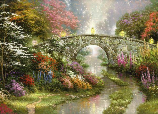Flower Bridge Thomas Kinkade Paintings