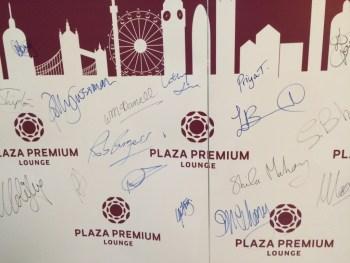 Plaza Premium arrivals guest wall