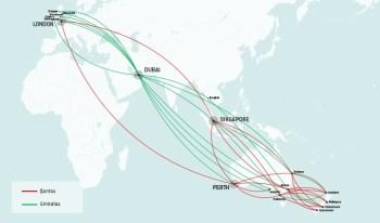 Qantas Emirates route map
