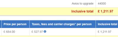 Upgrade Using Avios example 2