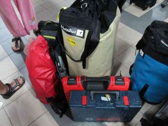 Haul bag, glue gun, drill and other rock climbing equiment Mersing Ferry Terminal