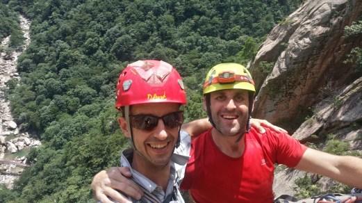 David Acott and Stephane Coupleux on route on Janggun Bong Rock Climbing South Korea Seoraksan