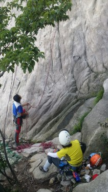 Korean Climbers working the 5.10a slab next to Chouinard A South Korea Climbing