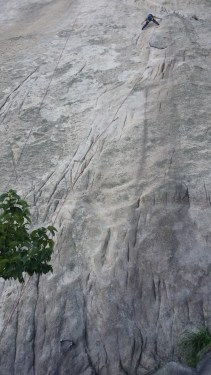 Korean climber on the slab Insu-Bong