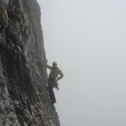 Henk leading the Jacob's ladder traverse