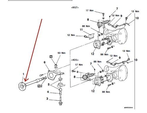 Front suspension diagram for MITSUBISHI PAJERO NS t