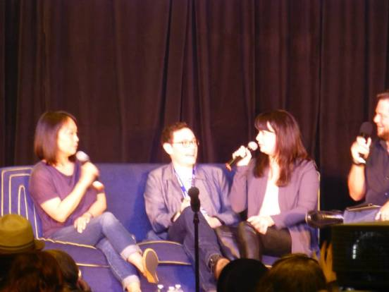 Naoko Mori, Burn Gorman, and Eve Myles at Gallifrey One