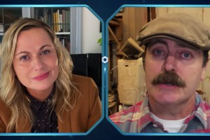Amy Poehler and Nick Offerman in a Parks and Recreation Special