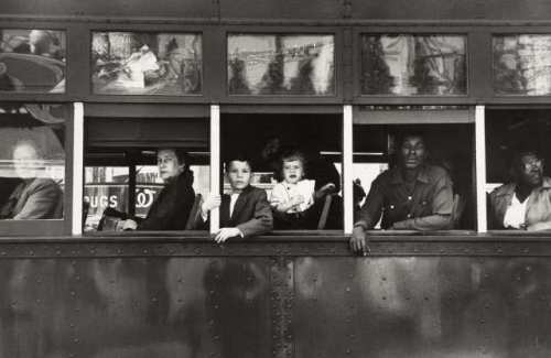 Robert Frank, TrolleyÑNew Orleans, 1955; gelatin silver print; 8 5/8 x 13 1/16 in.; Lent by The Metropolitan Museum of Art, Gilman Collection, Purchase, Ann Tenenbaum and Thomas H. Lee Gift, 2005; © Robert Frank