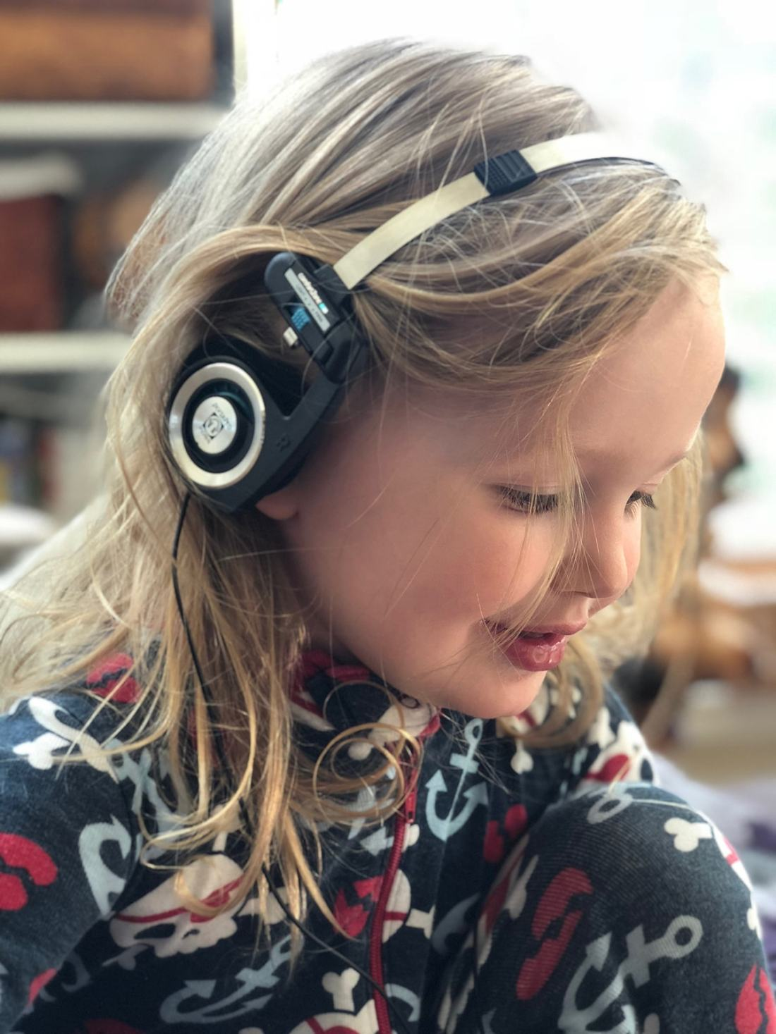 My three-year-old experiencing some of his first headphone listening with the original Porta Pro. It's the perfect gateway to high-quality personal audio.
