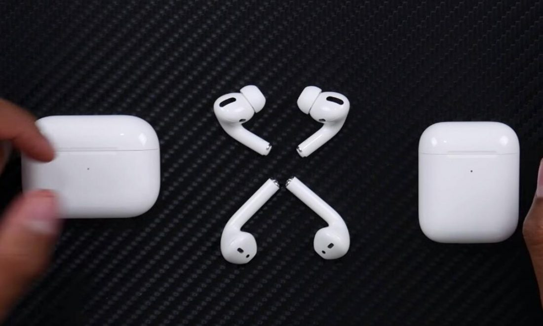 Body Comparison: AirPods Pro (T) AirPods (B). (From Youtube/SuperSaf)