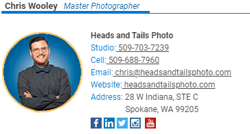 Email signature showing a business headshot