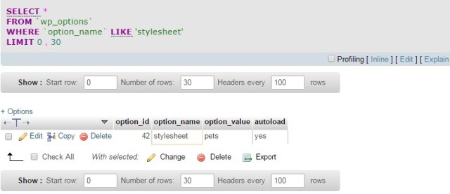 query wordpress_options table