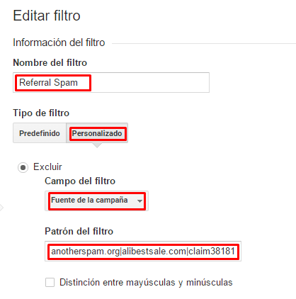 como eliminar el spam en google analytics
