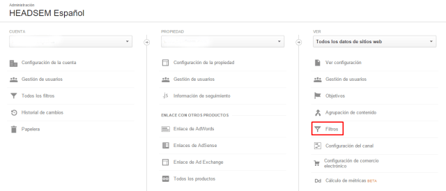 crear filtros en google analytics