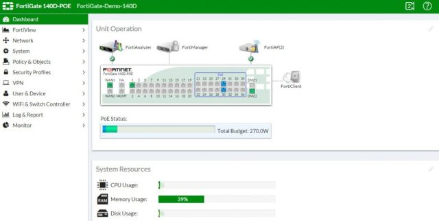 Fortigate consola web demo