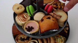plate of colourful cakes
