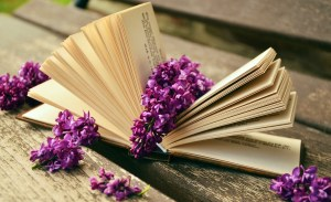 book with purple flowers
