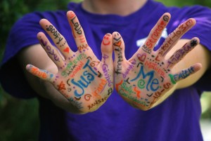 Image of hands with words written on them