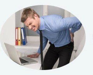 Man bent over with back pain