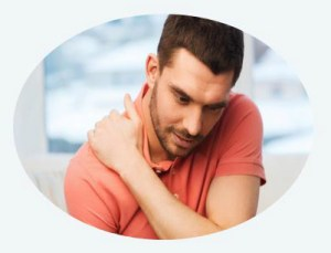 Man holding his sore neck