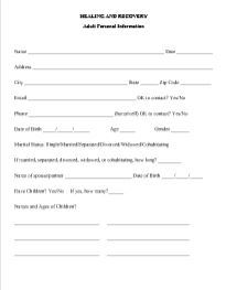 Adult Personal Information Forms