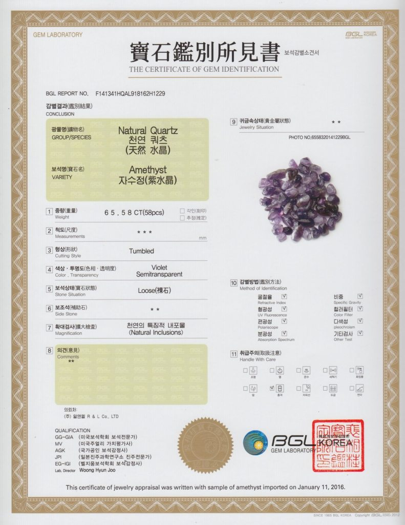 BioMat Gem Certificate