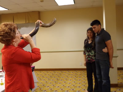 carol blowing the shofar and the school of ministry training in healing and deliveranc