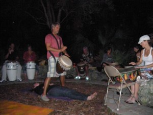 Toby doing healing at the drum circle