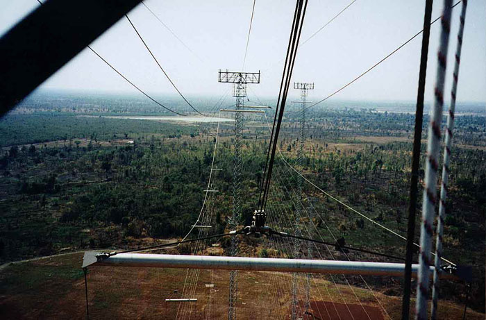 Steve Davis at Voice of America Relay Station, Udorn, Thailand, Spreader Bar view from the Hammerhead, 450 feet.