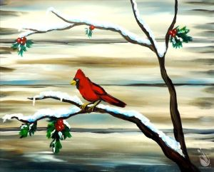 Cardinal perched on a snowy branch