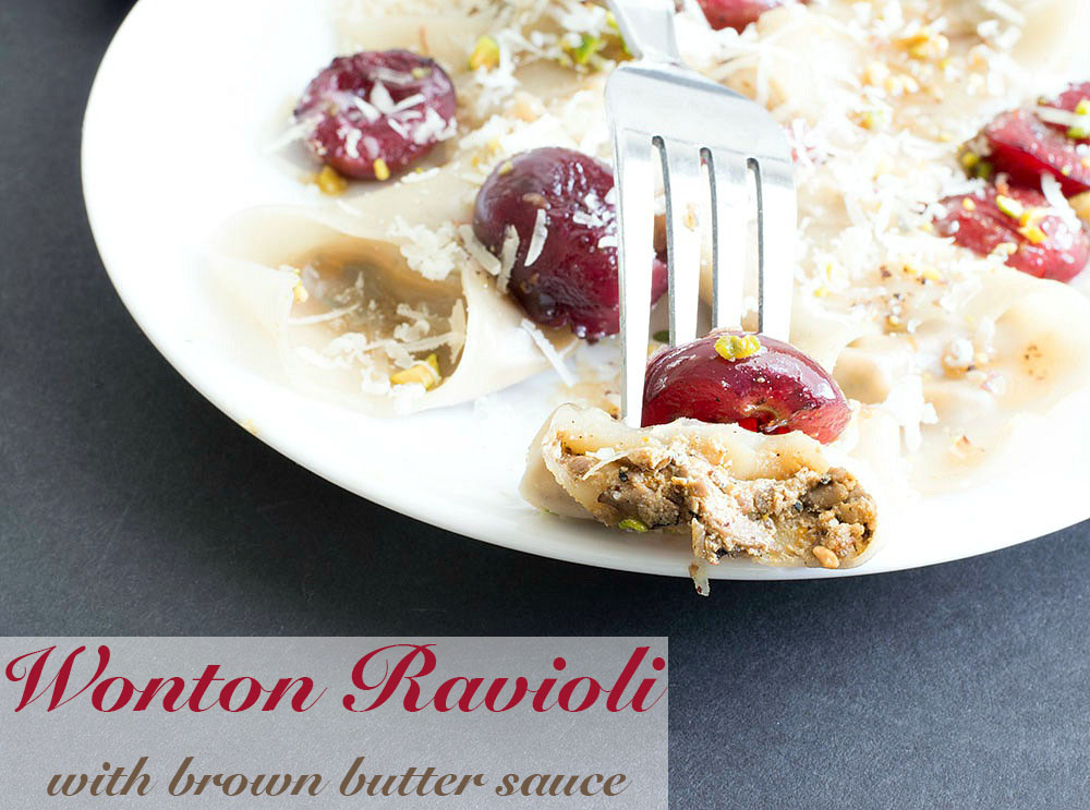 Alt Tag - This simple and delicious wonton ravioli is the perfect dinner idea for the whole family to enjoy. Made with fresh mushrooms, bell peppers, shallots and amaretti cookies. Even vegans can find a way to enjoy this recipe.
