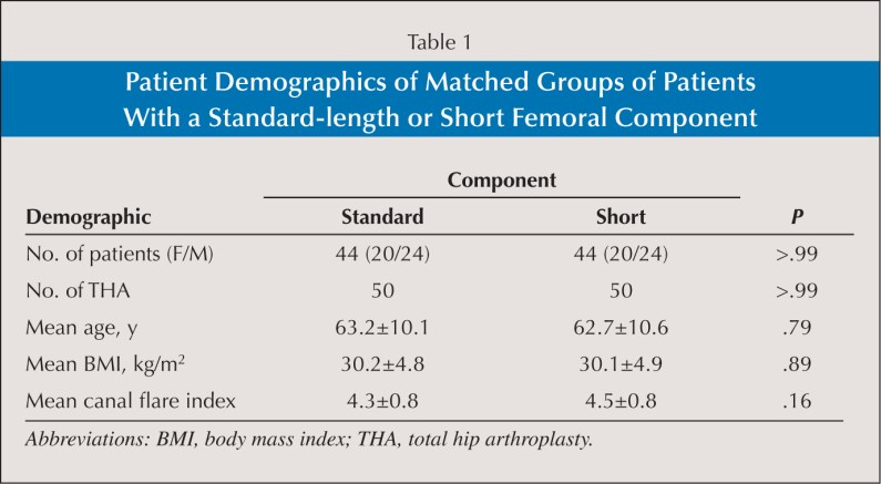 Patient Demographics of Matched Groups of Patients With a Standard-length or Short Femoral Component