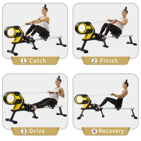 """Magnetic Rowing Machine with LCD Monitor, 46\\\"""" Slide Rail, Compact Folding Rower"""