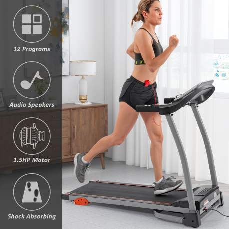 1.5HP Electric Running, Jogging & Walking Machine with Device Holder & Pulse Sensor