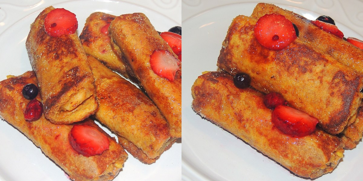 French Toast Roll up with Banana & Peanut butter