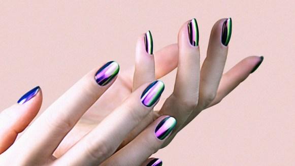 Light nails with metallic stripes