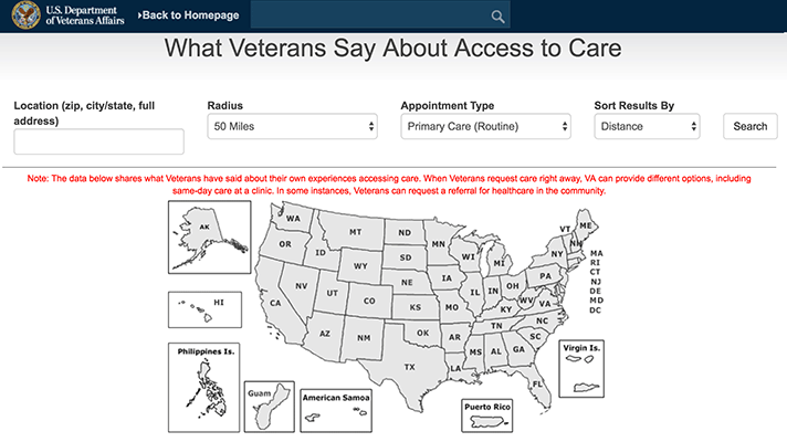 Veteran Affairs new website clinical care quality